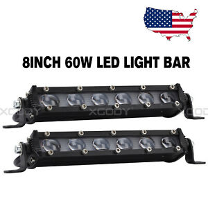 4d 8inch 60w White Led Spot Work Light Bar Driving Offroad Lamp For Jeep Suv Atv