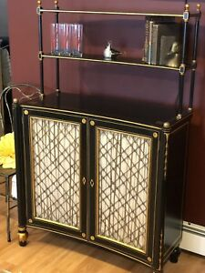 Antique Art Deco Hollywood Regency 30s Painted Wood Brass Bar Buffet Cabinet