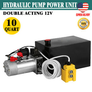 Hydraulic Power Unit 10 Quart Double Acting Hydraulic Pump Unit 12v Steel Tank