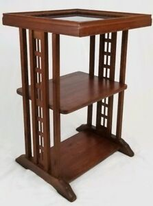 Vintage Carved Mahogany Chinese Chippendale Accent Tea Table Glass Top 3 Tier