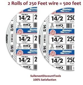 2 X Romex 250 Roll 14 2 Awg Guage Nm b Indoor Electrical Copper Wire 500 Ft