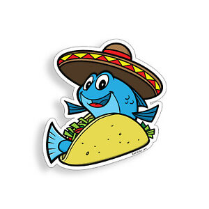 Fish Taco Sticker Fishing Boat Cooler Cup Laptop Vehicle Car Window Bumper Decal