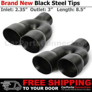 Black 8 5in Weld On Quad Exhaust Double Wall Tips 2 35 In 3 Out Dual Exit