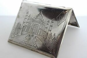 Antique Sterling Silver Cigarette Box W Hand Engraved Taj Mahal