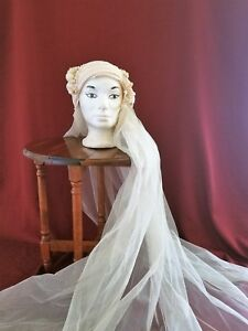 Bridal Cap Vintage 1920s Reproduction 1970 With Attached Tulle Veil Ivory