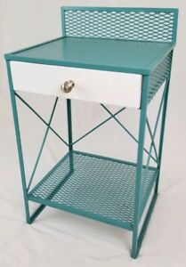 Mid Century Mesh Metal Wrought Iron Nightstand Cabinet End Table Retro Vintage
