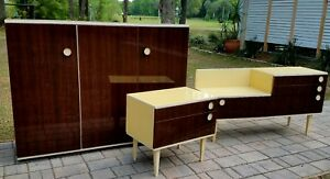 Mid Century Danish Furniture 3 Piece Set Night Stand End Table Credenza Cabinet