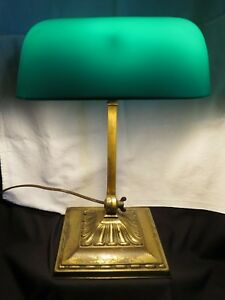 Antique Emeralite 8734g Double Knuckle Desk Bankers Lamp Green Cased Shade