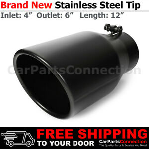 Universal Truck Angled Black 12in Bolt On Exhaust Tip 4 In 6 Out Rolled Edge