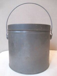 Antique Tin Milk Can Lunch Pail Bail Handle Dairy Farm Collectible