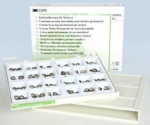 Po 96 Assorted Permanent Molar Stainless Steel Crowns Complete Kit