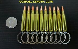 LOT OF 50 ONCE FIRED REAL BULLET KEYCHAIN 223 REMINGTON 5.56 FMJ $50.00