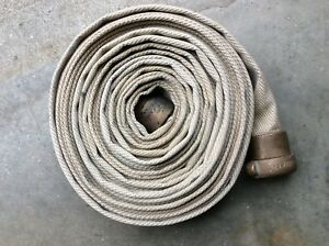 50 Foot Niedner Nylon Fire Hose With Bar way Brass Fittings In Good Condition