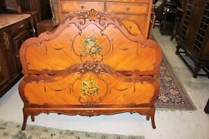 Victorian Antique Rosewood Full Size Bed With Rails Slats Bedroom Furniture