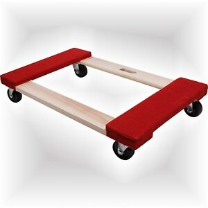 Equipment Moving Dolly Red Carpeted 3in Casters Heavy Duty Furniture 840lb Load