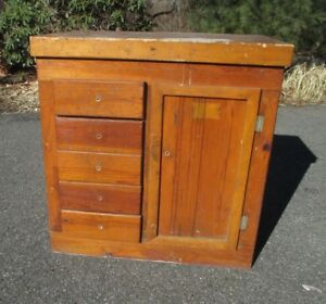 Vintage Primitive Cabinet Kitchen Country Work Shop Available Delivery Shipper