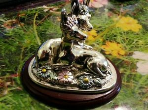 Sterling Silver Deers Couple Figurine 925 Md Italy Miniature On Base179 Grams