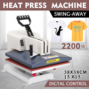 Digital Heat Press Machine 15 x15 Transfer Multifunction Plate Printer 1800w