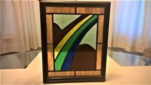 Vintage Rainbow Leaded Stained Glass With Wood Frame 9 1 4 Wide X 11 1 4 Tall