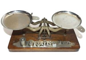 Antique Burke James Balance Scale With 10 Weights