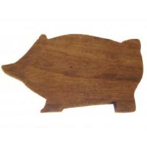 Vintage Handmade Wood Pig Shaped Country Kitchen Cutting Board