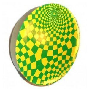 Vintage Green Yellow Swirled Checkerboard Lithographed Tin Noise Maker Toy