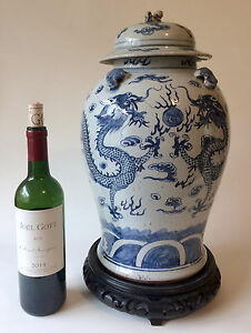 Huge Porcelain Temple Jar With Dragons Chinese Blue And White