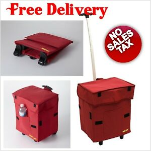 Rolling Collapsible Basket Grocery Shopping Cart Folding Utility With Wheels Red