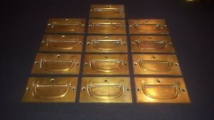 Lot Of 13 Vintage Brass Inset Recess Flush Handles Cabinet Drawer Handle Pulls