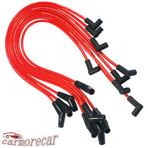 Red 45 Degree End Spiral Core Spark Plug Wires Hei For Chevy Bbc 396 427 454 502