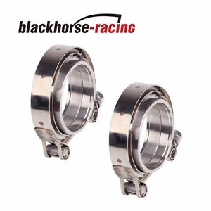 2x 3 5 Inch Stainless Steel V band Clamps Flange Turbo Wastegate Exhaust 2pcs