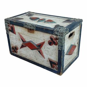 Americana 19th Century Painted Trunk W Poker Cards Symbols C 1860s