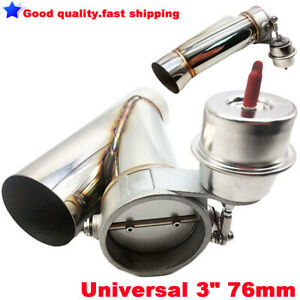 Universal 3 76mm Y Pipe Exhaust Cutout Electric Valve System Kit With Vacuum