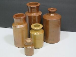 5 Antique Stoneware Pottery English Ink Bottles Jugs Primitive Folk