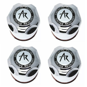 Set Of 4 American Racing Center Cap 4 25 Push Thru Dome Chrome Plastic 1425000s