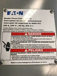 Eaton Dt224nrk 200 Amp Double Throw Safty Switch