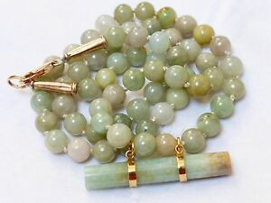 Chinese 14k Gold Vintage Green Jade Beaded Necklace Pendant 53 Grams