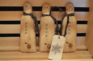 3 Snowman Ornies Pillows Tucks Doll Primitive Christmas Shelf Sitters Make Do S