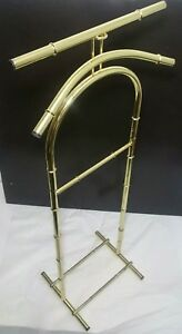 Vintage Hollywood Regency Chinoiserie Faux Bamboo Butler Valet Coat Stand Rack