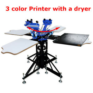 3 Color Silk Screen Printing Machine 4 Station 1 Flash Dryer Diy Press Equipment