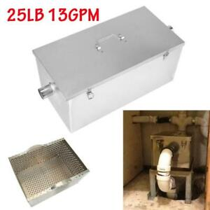 25lb 13gpm Commercial Kitchen Grease Trap Stainless Steel Interceptor Filter Us