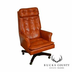 Classic Leather Mid Century Modern Tufted Orange Office Desk Chair