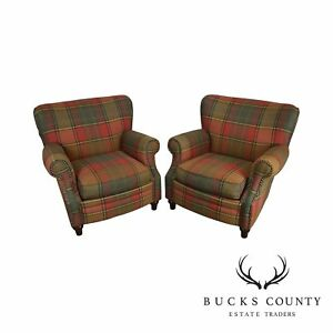Plaid Upholstered Pair Club Chairs