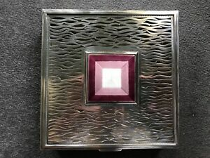 Guilloche Enamel Silver Box Large Heavy Retro 1960 S Fretwork Design 1416gms