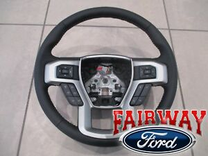 17 Thru 19 Super Duty F250 F350 Oem Ford Black Leather Steering Wheel W Cruise