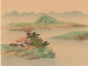 Hand Painted Japanese Miniature Ink Drawing W House Water On Rice Paper C1930s