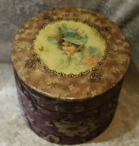Antique Victorian Collar Cuffs Box Celluloid Top Victorian Lady Velvet Cover