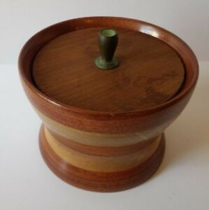 Vintage Hand Turned Wooden Bowl With Lid Small Handmade Primitive