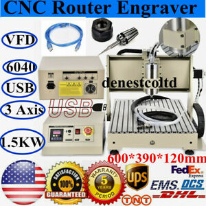 Usb 6040 3 Axis Cnc Router Engraver 1500w Vfd Cutting Engraving Carving Machine
