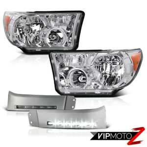 Chrome Amber Headlight smd L e d Front Bumper Lamp Kit For Tundra Sequoia Toyota